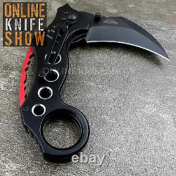 Black Spring Folding Pocket Knife Claw Combat Tactical Assisted Open Tac-Force