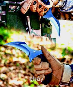 Claw Knife Karambit Full Tang Survival Military Combat Hunting Tactical Camp G10