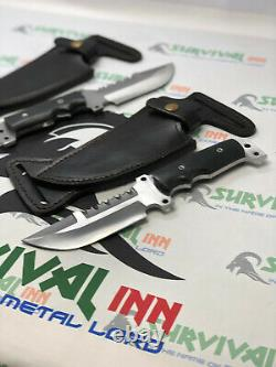 Custom Handmade D2 Steel Tactical Military Knives Pair With Belt Leather Sheaths