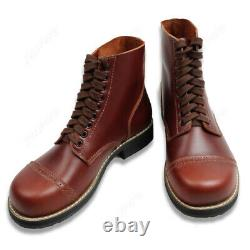Men Brown Leather Boots WW2 US Army Airborne Paratrooper Military Tactical Shoes