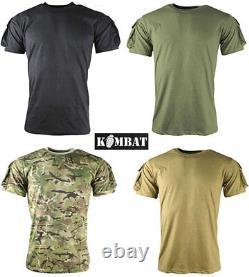 Mens Army Combat Military Tactical Airsoft T-Shirt Short Green Black Camo New