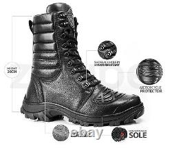 Mens Combat Boots Genuine Leather Black Hunt Tactical Motorcycle Military Biker