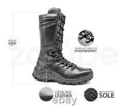 Mens Hunting Boots Motorcycle Black Leather Combat Boots Tactical Boots Hunt