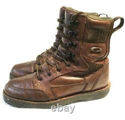 RARE OAKLEY LEATHER TACTICAL BOOTS Size 10 Military Patrol Combat with Gold Icons