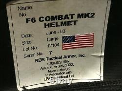 F6 Combat Mk2 Taille Du Casque Balistique Militaire Large Rbr Tactical Armor, Inc