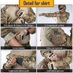 Idogear G3 Bdu Combat Uniform Set Shirt & Pants Knee Pads Tactical Military Camo