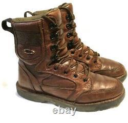 Rare Oakley Leather Boots Tactiques Taille 10 Patrouille Militaire Combat Avec Icônes D'or