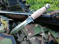 Russian Custom Military Hunting Dagger Knife Poignée D'écorce De Bouleau En Acier Inoxydable