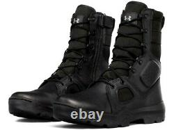 Under Armour Fnp Tactical Side Zip Black Leather Military Cops Army Boots 13 Hommes